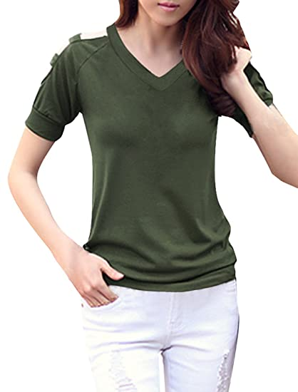 uxcell Women Slipover V Neck Cut out Shoulder Short Sleeve Shirt Top at Amazon Womens Clothing store: Blusas De Mujer De Moda