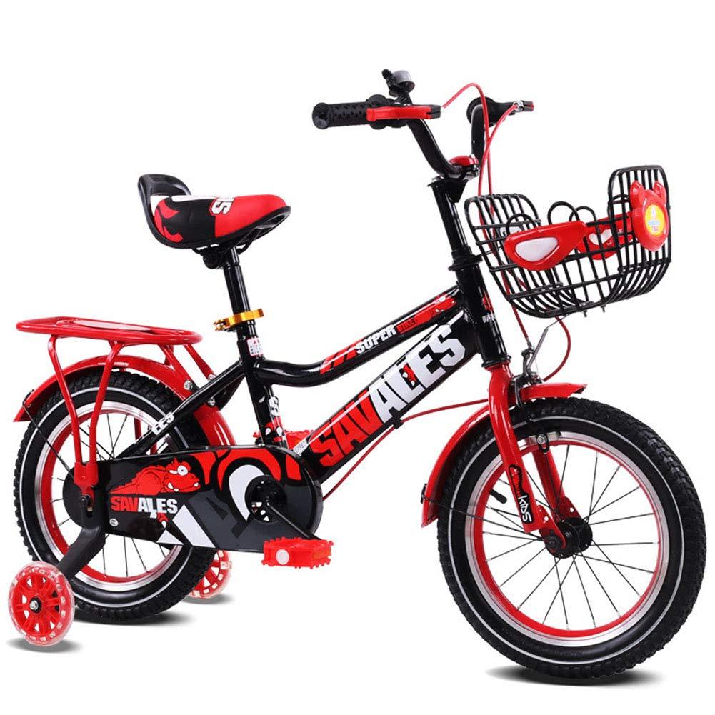 1-1 Kinder Fahrrad Verstellbare Höhe Blitz PU-Räder Mountainbike Doppelbremse Junge Mädchen Sicherheit Dämpfung 12 Zoll rot