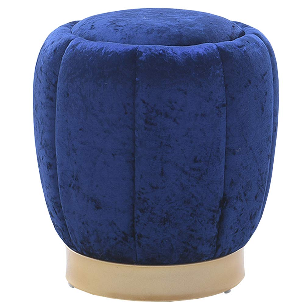 Royal-bluee 3843cm Stool Nordic Fashion Living Room Round Stool Creative Makeup Stool Sofa Footstool Solid Wood shoes Bench Pouf WEIYV (color   Light-Brown, Size   38  36cm)