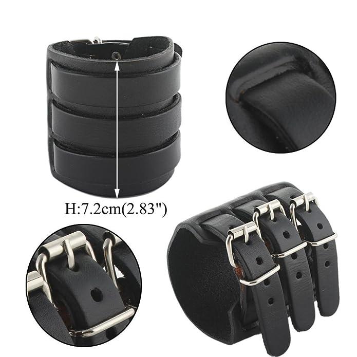 TENYE 3 Layer Wide Belt Genuine Leather Men Wristband Bracelet Unisex Couple zCF9RlD3