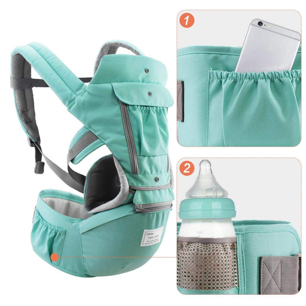 2654//5000 Portabeb/és suave 3 en 1 mochila envolvente 360 Asientos ergon/ómicos para reci/én nacidos para reci/én nacidos y beb/és portabeb/és transpirable todo en uno para beb/és Azul