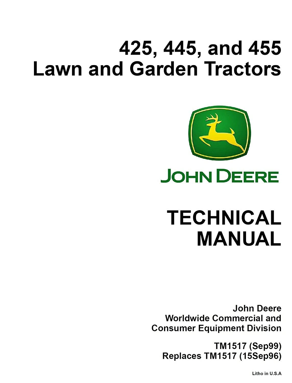 Amazon.com : R.A.M Reliаblе 425, 445, 455 Technical Repair ... on john deere engine wiring diagram, john deere 425 engine diagrams, john deere hydraulic system diagram, john deere lawn 425, john deere 425 attachments,