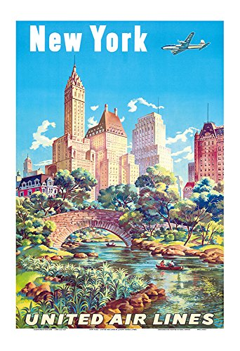 New York - United Air Lines - Gapstow Bridge at Central Park South Pond, Manhattan - Vintage Airline Travel Poster by Joseph Fehér c.1940s - Master Art Print - 13in x 19in