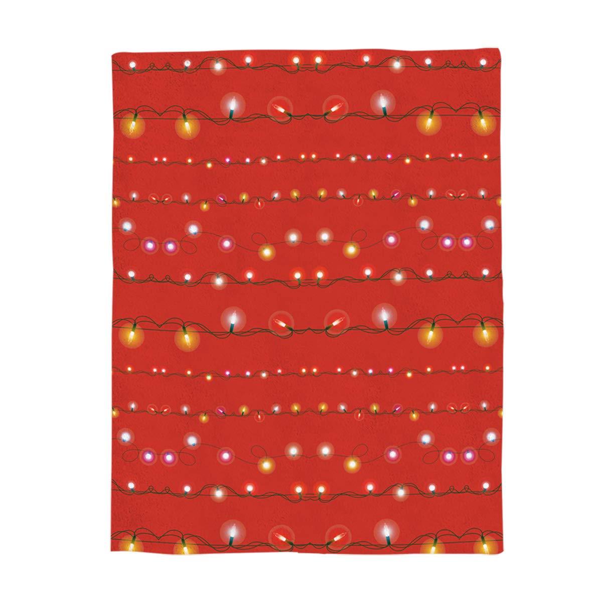 フリーススローブランケット パーソナライズ 冬 クリスマス ホリデー カラフルライト ランプバルブバナー レッドバックドロップデザイン 贅沢 心地良い 暖かい フラシ天 マイクロファイバーブランケット リバーシブル ベッド/カウチ/ソファ用ブランケット 59'' by 78'' 181116ZLYblanketSD-SLXM02425MTADSDY B07KW19D3S Christmas 1639lsdy5918 59'' by 78''