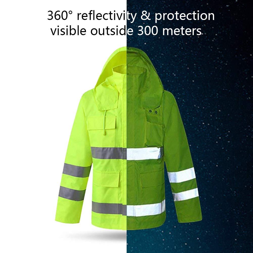 XIAKE SAFETY Class 3 Hi-Vis Reflective Rainwear Breathable Windproof Waterproof Antifouling, ANSI/ISEA Compliant,Yellow(XLarge) by XIAKE (Image #5)