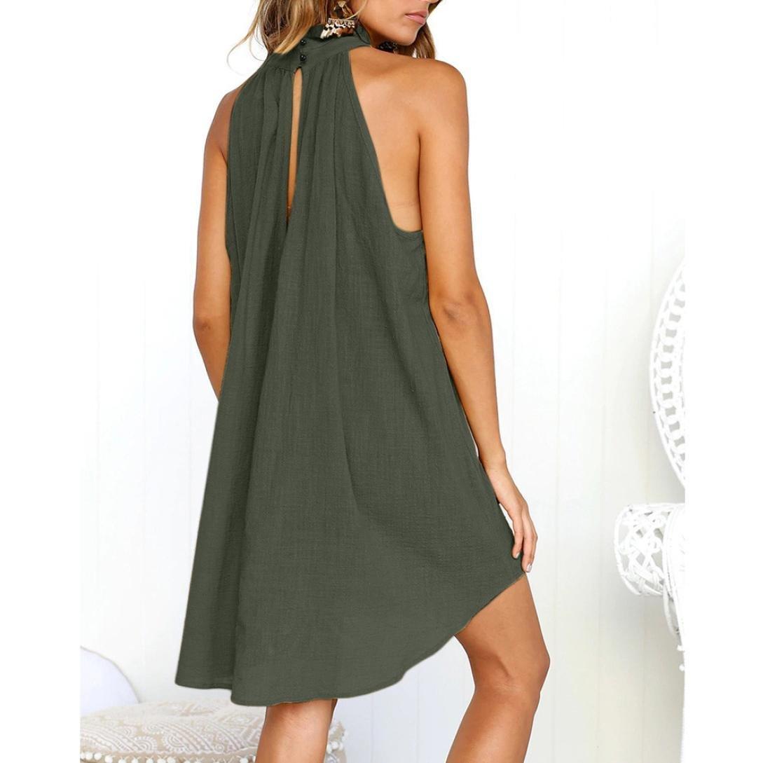 Scaling ❤ Women Dress,Womens Halter Neck High Neck Sleeveless Mini Beach Dress Casual Tunic Tank Dress Loose Swing Sundress