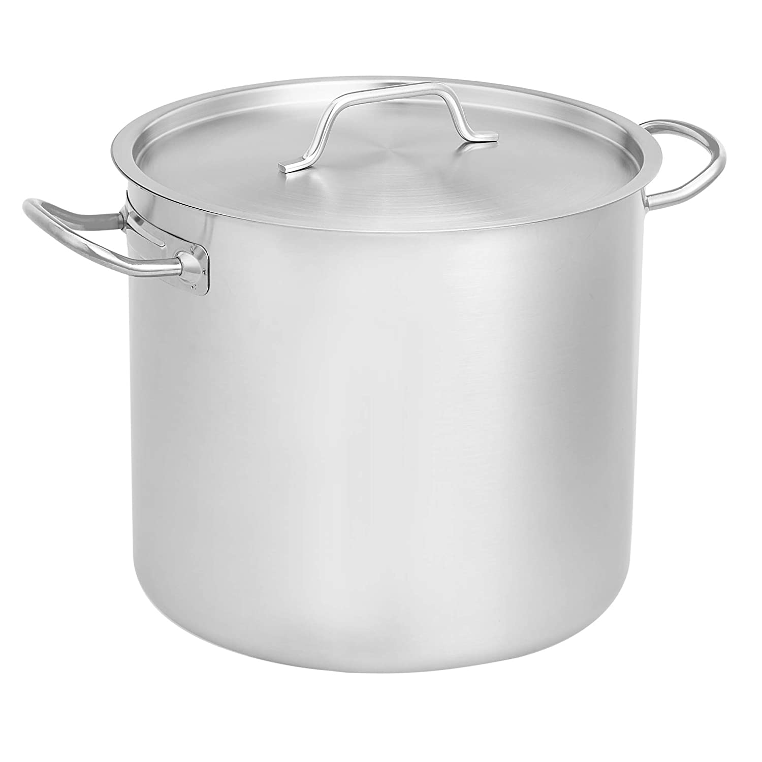 AmazonCommercial 20 Qt. Stainless Steel Aluminum-Clad Stock Pot with Cover
