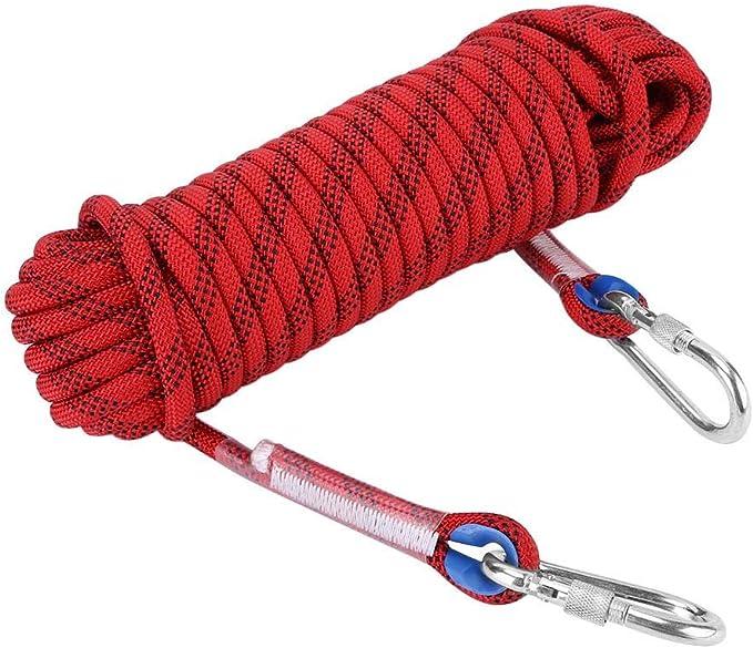 VGEBY1 Cuerda de Escalada, Cable de paracaídas de Supervivencia de 12 mm Paracord para Acampar con Hebillas para Escalada Senderismo Espeleología de ...