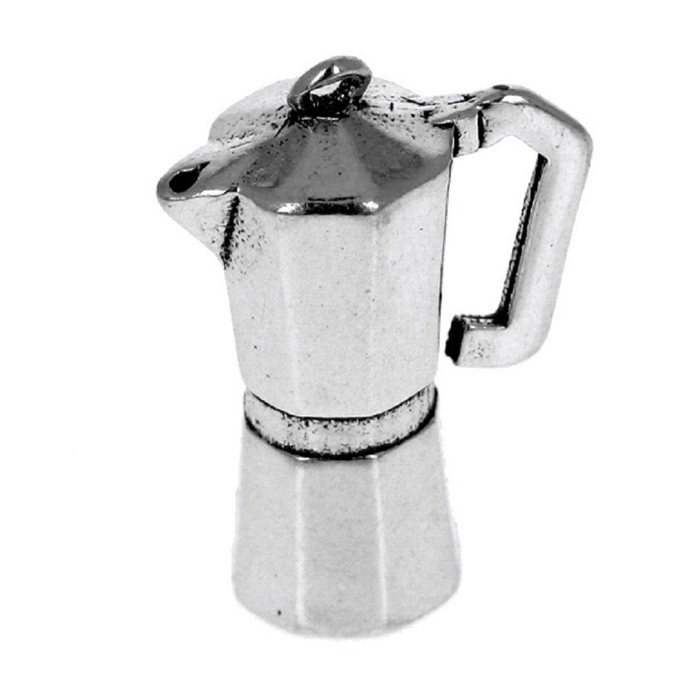 Sterling Silver Charm Bracelet With Attached 3D Kitchen Cooks Itailian Expresso Coffee Machine Charm