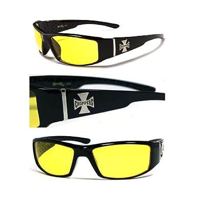 hotrodspirit - lunette de soleil choppers à croix de malte verre jaune nuit r3K111Vz