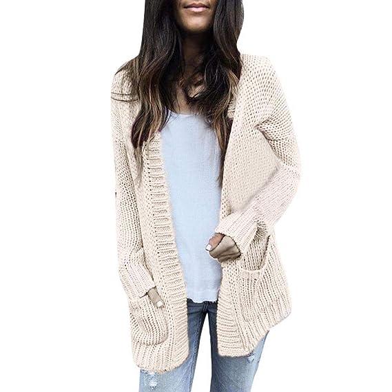 Riou Strickjacke Damen Lang,Frauen Mode Trends Herbst Winter