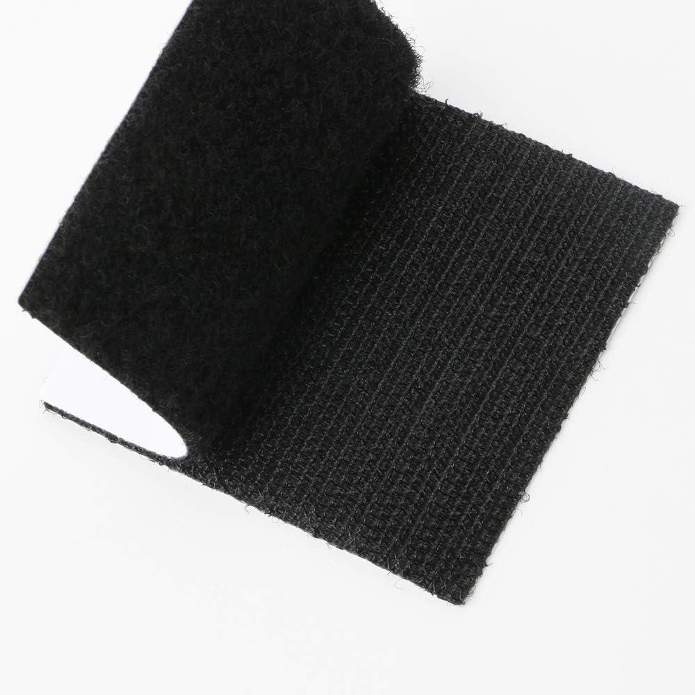 TOOHUI 12 Pares Hook y Loop Bandas, Extra Fuerte Doble Cara Cinta de Velcro Autoadhesivos para Hogar Oficina Industria, Negro(Cuadrado, 6cm x 6cm)