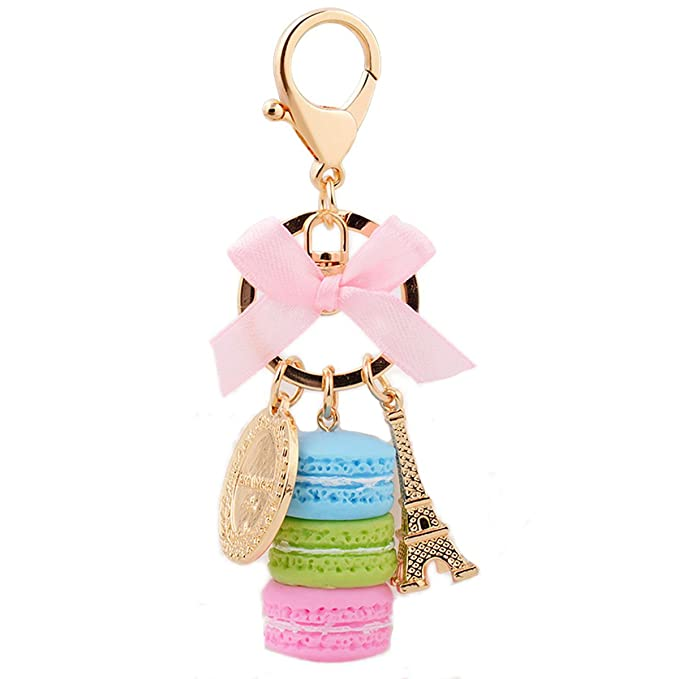 ZOONAI Macaron Cake Eiffel Tower Keychain Bowknot Car Keyring Bag Purse Pendant