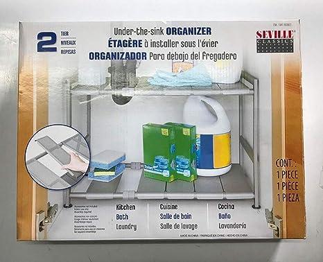 Amazon Com Seville Classics Costco Storage Organizer 15x12x2 5 Nickel Kitchen Dining