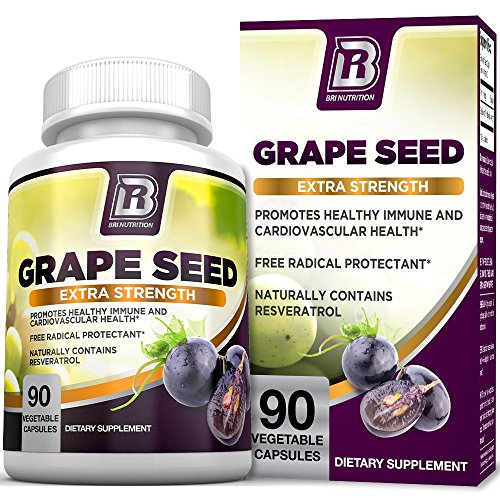 Grape Antioxidant - BRI Nutrition Grapeseed Extract - 95% Proanthocyanidins 400mg Servings - Strongest Standardized Extract On The Market - 90 Veggie Capsules