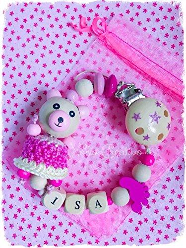 Chupetero rosa con oso | cadena de chupete con nombre ...