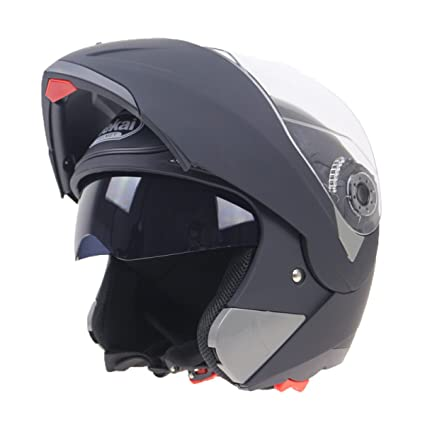 WKAIJCI Motocicletas Cascos Todo Cubierto Revelador Casco De Cara Completa Coche De Batería Lentes Duales,