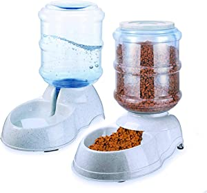 Zento Deals Automatic Self-Dispensing Pet Feeder and Water Dispenser Premium Quality Self-Dispensing Gravity 3.5 liters 1 Gallon Large Capacity Pet Feeder, 3.7 Liters Capacity Pet Waterer