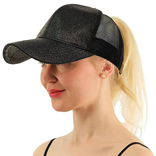 a1e07957c7092b WGIA Ponytail Baseball Cap Glitter Mesh Ponycap Shiny Messy Bun Snapback  Adjustable Sun Hat for Women