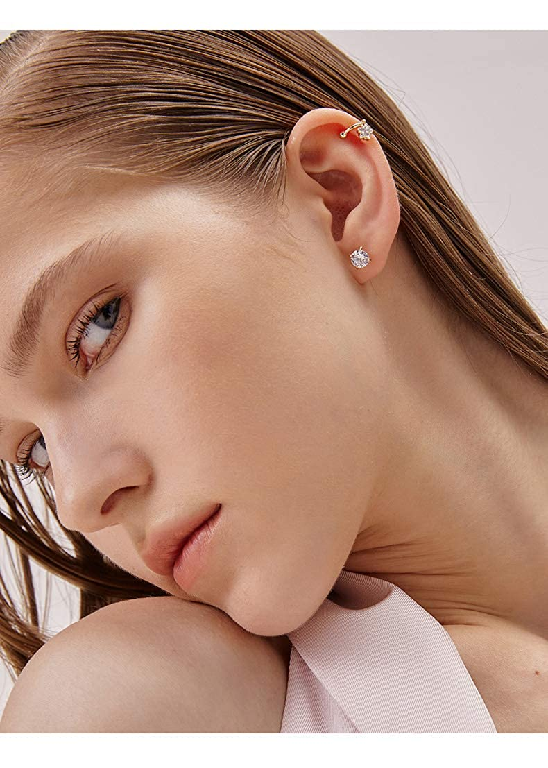 Womens 18K Gold Plated CZ Stud Earrings Simulated Diamond Round Cubic Zirconia Ear Stud Set for Girls Boys Mens(6 Pairs