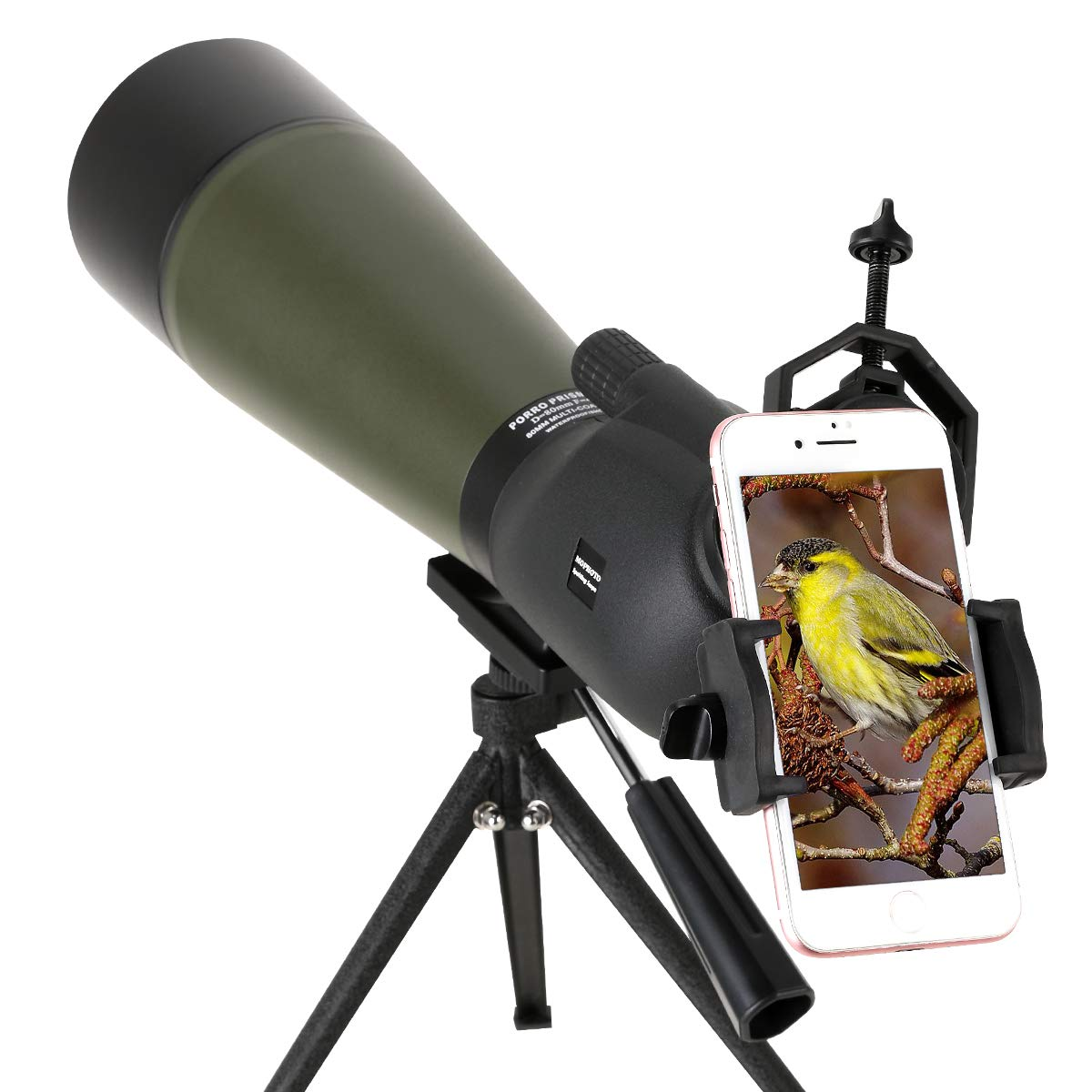 MOPHOTO 20-60x80 Waterproof Angled Spotting Scope with Tripod, 45-Degree Angled Eyepiece, Optics Zoom 39-19m/1000m for Target Shooting Bird Watching Hunting Wildlife Scenery by MOPHOTO