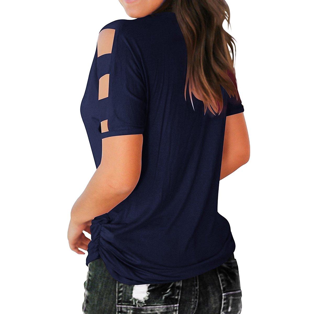 Eanklosco Womens Summer Short Sleeve Cold Shoulder Tops V Neck Basic T Shirts (Navy Blue, L)