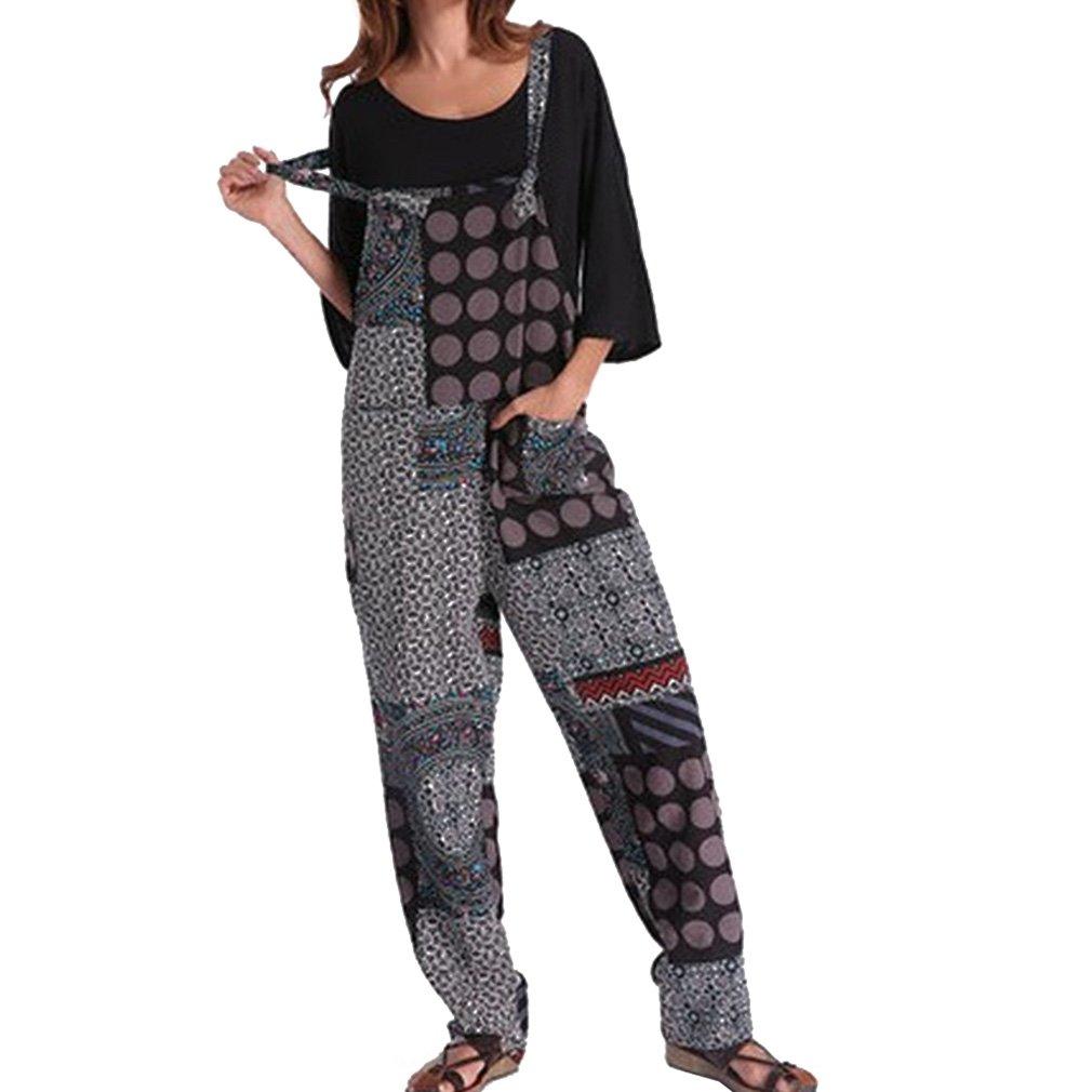 1069dfe365 Hibote Mujer Chicas Petos Largo Harem Pantalones Anchos Baggy Palazzo  Costura Casual Elegante Algodón Suelto Bolsillos Fiesta Talla Grande M-3XL   Amazon.es  ...