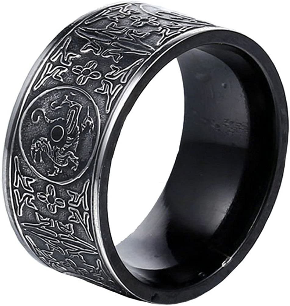 PAMTIER Men's Stainless Steel Ring Ancient 4 Guardian Beast, Dragon, White Tiger, Suzaku, Basalt Carved