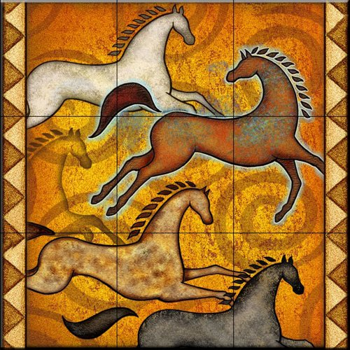 Ceramic Tile Mural - Southwest Horse 6 - by Dan Morris - Kitchen backsplash/Bathroom shower by The Tile Mural Store