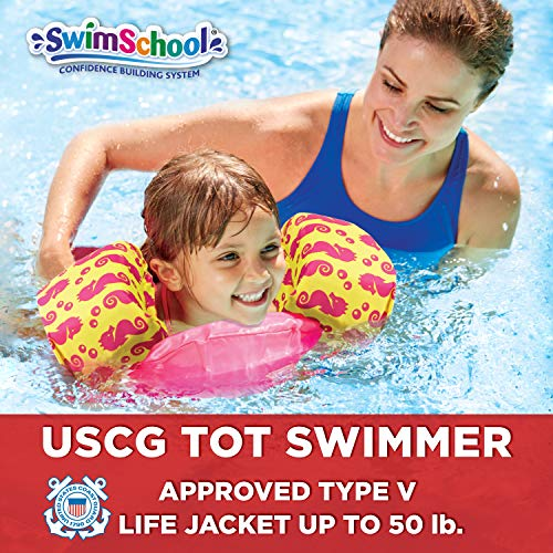 SwimSchool USCG Approved TOT Swimmer with Arm Floaties, Type V Life Jacket/PFD, Medium/Large, Pink/Yellow