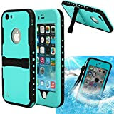 iPhone 6S Waterproof case,3C-Aone Armor Defender IP-68 Waterproof Shockproof Snow Proof Full Body Skin Case Protective Cover with Hand Strap & Headphone Adapter for Apple iPhone 6S 4.7inch (Blue)