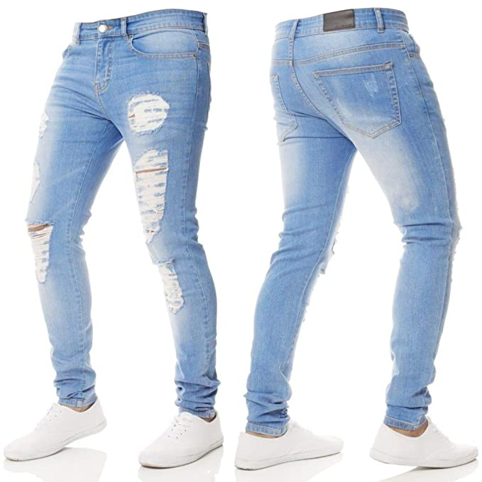 b13873479a6 iMakcc Mens Distressed Skinny Feet Ripped Jeans Frayed Slim Fit Destroyed  Denim Pants (28