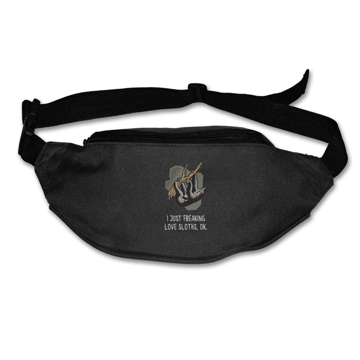 I Just Freaking Love Sloths Ok Sport Waist Bag Fanny Pack Adjustable For Hike