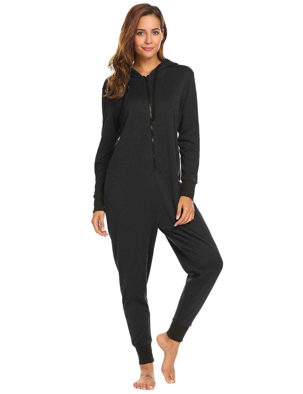 99c55b595b9b Amazon.com  Ekouaer Family Pajamas Hooded One Piece Coupe Pajamas Onesie  Jumpsuit Adult for Men Non Footed Women Pajamas Sleepwear S-XXL (Black