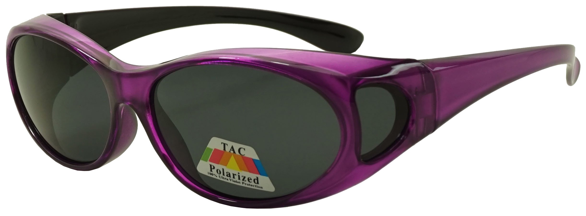 Fit Over Wrap Sunglasses w/ Super Dark Polarized Lens - Size Medium Wear Over (Purple, Black)