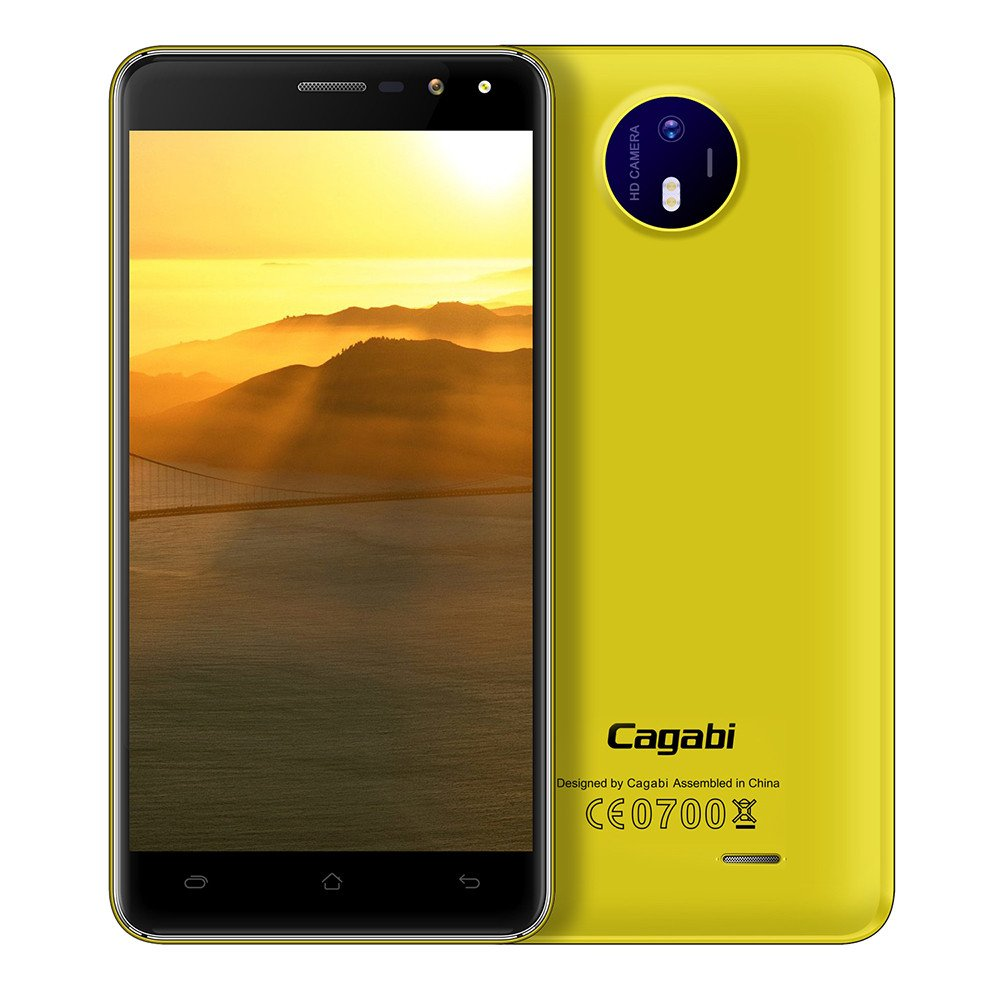 Unlocked Smartphone,5.0'' IPS Screen Android 6.0 MTK6580A Quad Core 1.3G 1G+8G Dual Flash Light 3G Mobile Phone Cell Phone (Yellow)