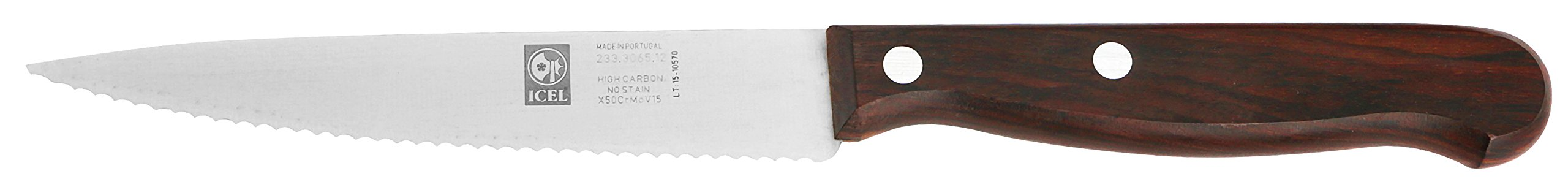 ICEL Serrated Steak Knife, 4-3/4-inch Pointed Tip, High Carbon Stainless Steel Blade, Rosewood Handle.