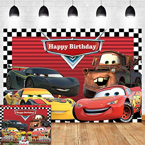 Red Cars Backdrop for Children Boys Birthday Party Supplies Vinyl Checkered Flag Racing Car Story Photo Background Banner Baby Show Photo Booth Studio Props Cake Table Decor 5x3ft