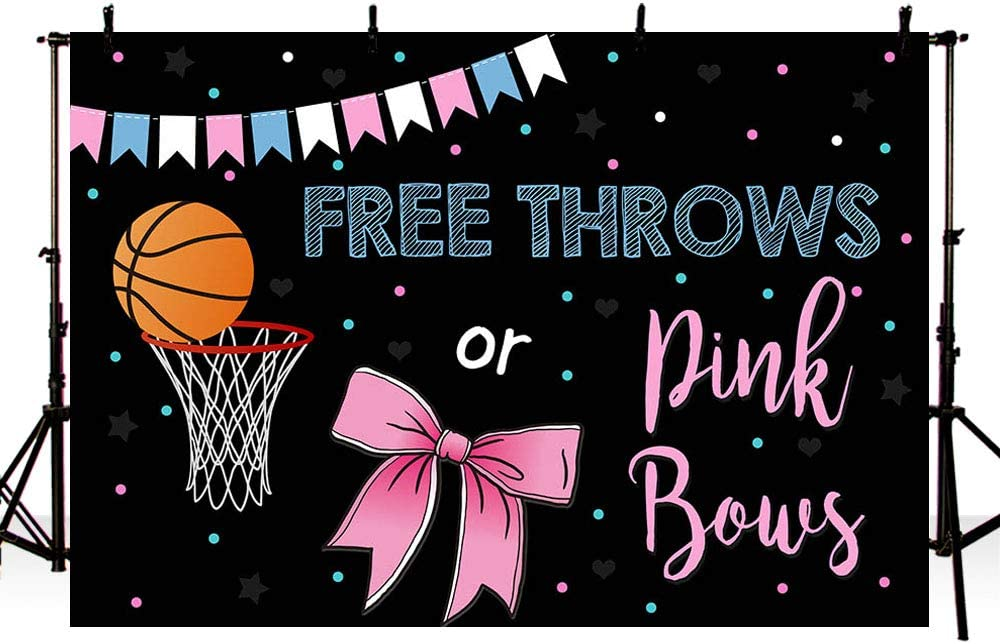 MEHOFOTO Free Throws or Pink Bows Gender Reveal Party Photo Background Props Baskeball or Bow Baby Shower Boy or Girl Blue Pink Decoration Black Backdrops Banner for Dessert Table 7x5ft
