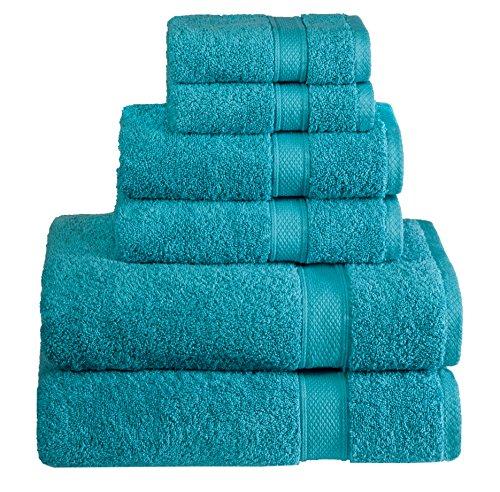 Hotel & Spa Quality, Absorbent and Soft Decorative Kitchen and Bathroom Sets, 100% Cotton 600 GSM, 6 Piece Turkish Towel Set, Includes 2 Bath Towels, 2 Hand Towels, 2 Washcloths, Aqua (School Age Refrigerator)