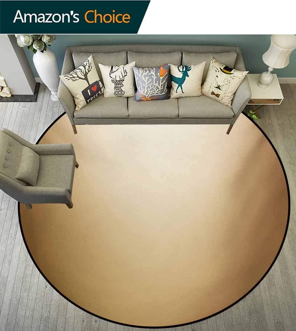 RUGSMAT Sepia Round Rug Kid Carpet,Abstract Gradient Display Soft Golden Brown Colored Plain Modern Digital Desgin Home Decor Foor Carpet,Diameter-47 Inch Ivory Sepia