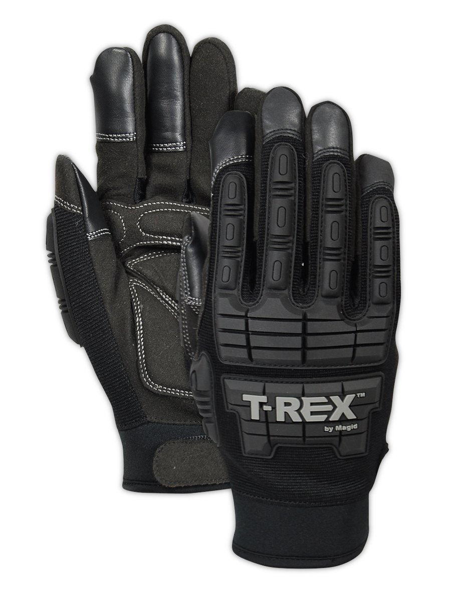 Magid Safety TRX606L T-REX Light Duty Mechanics Impact Glove, Large, Black (One Pair) by Magid Glove & Safety