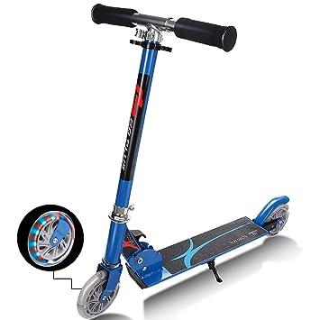COSTWAY Patinete Plegable de Aluminio Altura Ajustable con 2 Ruedas City Scooter Roller para Niño (Azul)