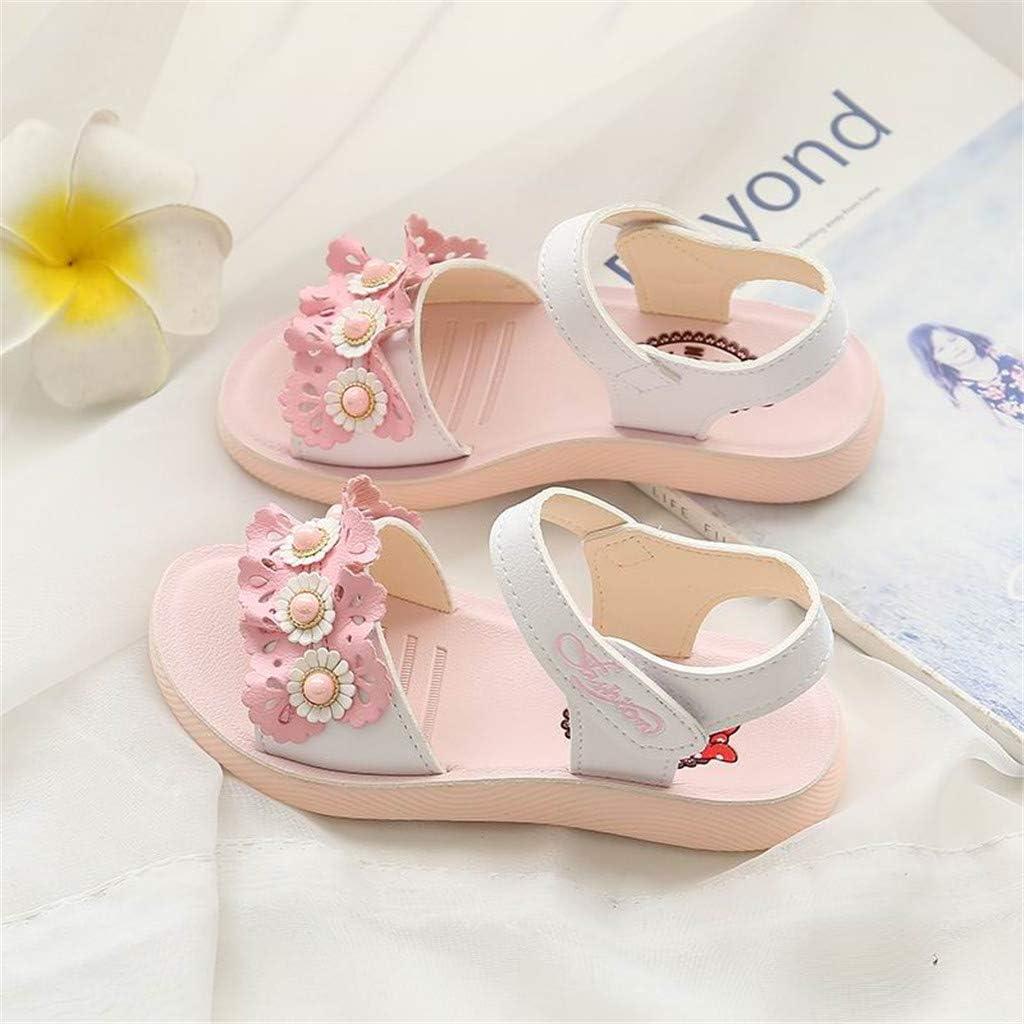 Children Sandals Jifutan Summer Solid Baby Girls Infant Ruffles Pearl Floral Soft Bottom Beach Shoes