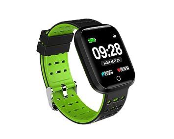 Doki Reloj Inteligente De 1,2 Pulgadas Presión Arterial Frecuencia Cardíaca Smartwatch Fitness Monitor para Teléfonos Android iOS (Verde)