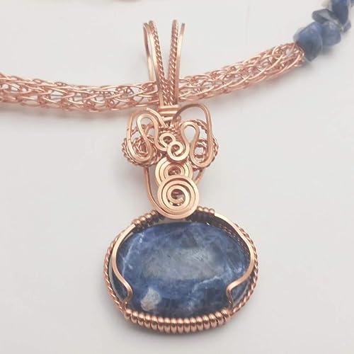Lapis lazuli natural stones handmade cabochons pendant copper wire pendant
