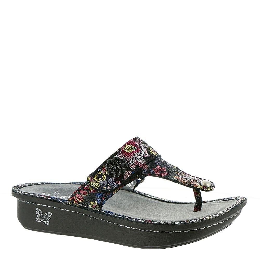 Alegria Womens Carina Wedge Thong Sandal Noche Flora Size 41 EU (10.5 M US Women)
