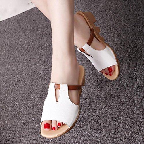 Malloom® Sandalen, Frauen Sommer Kunstleder Sandalen Mode Solid Beach Slides Hausschuhe Damen Schuhe Weiß-2