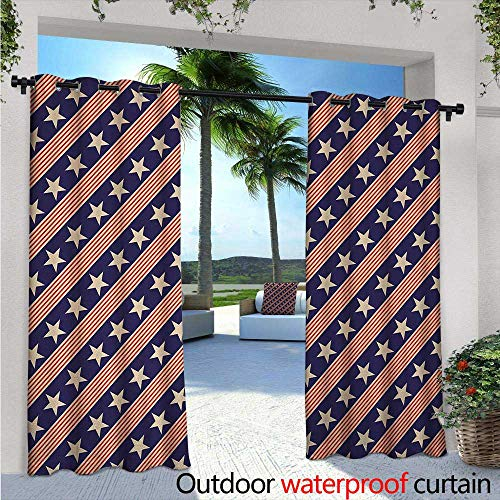 Primitive Country Outdoor Privacy Curtain for Pergola Patriotic Star Pattern in Diagonal Stripes National Theme Print Thermal Insulated Water Repellent Drape for Balcony W108