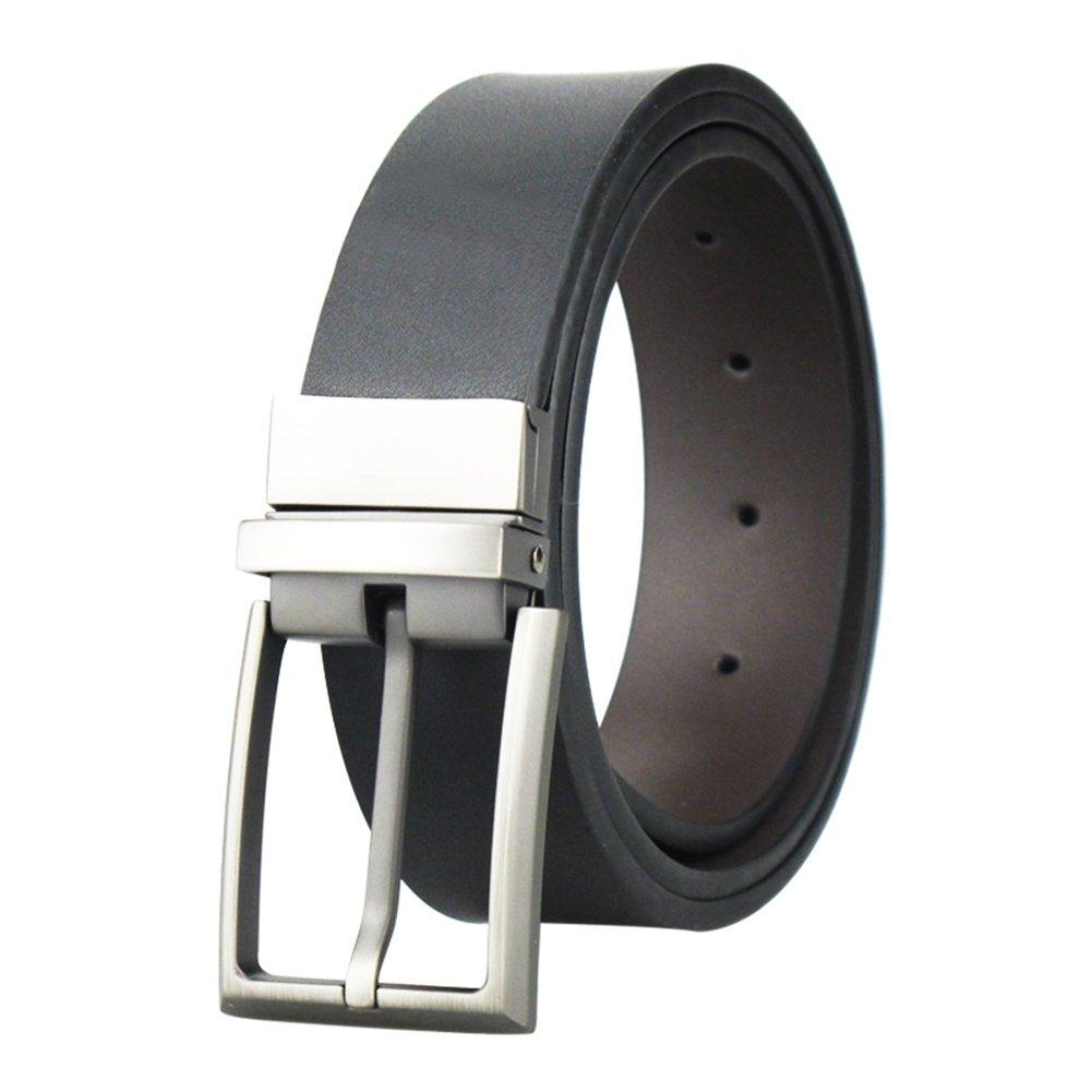 Men's Reversible Black/Brown Leather Dress Belt 1.25 Wide Rotated Buckle Maikun belt1005-Black-1-105